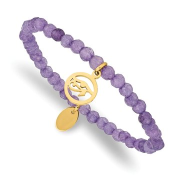 Stainless Steel Polished Yellow IP Eye of Horus Purple Jade Stretch Bracele