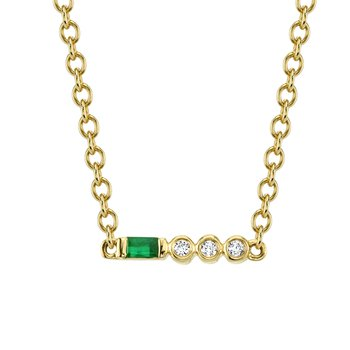 MARS 27318 Pendant Necklace, 0.02 Dia, 0.05 Emerald