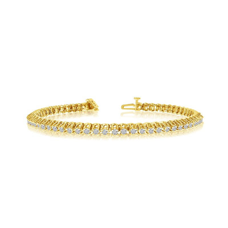 "Color Merchants 2.00ctw 14K Yellow Gold ""C"" Channel Diamond Bracelet"