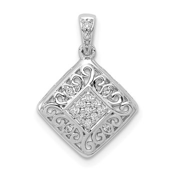 14k White Gold 1/15ct. Diamond Fancy Pendant