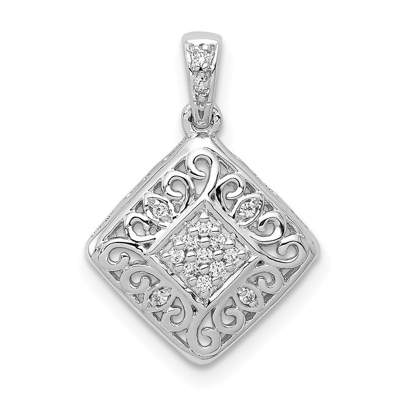 Quality Gold 14k White Gold 1/15ct. Diamond Fancy Pendant