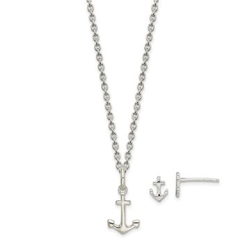 Sterling Silver Anchor 18in Necklace and Post Earring Set