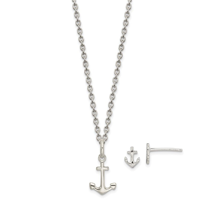 Quality Gold Sterling Silver Anchor 18in Necklace and Post Earring Set