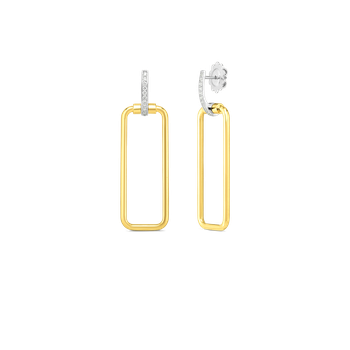 18K RECTANGULAR DROP EARRING W. DIA ACCENT