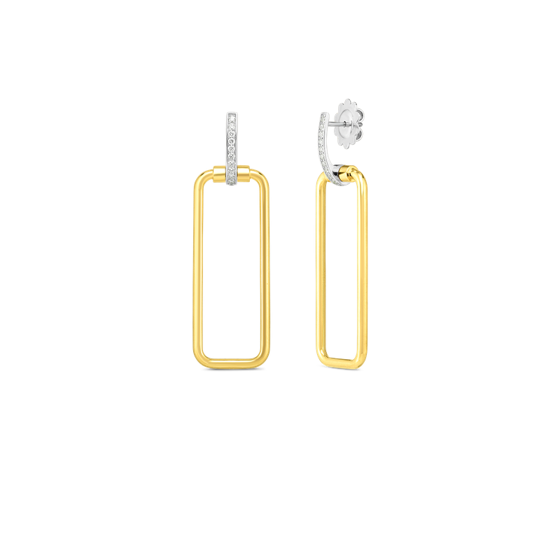 Roberto Coin  #28000 Of 18K Rectangular Drop Earring W. Dia Accent