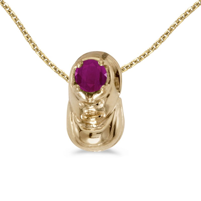 Color Merchants 14k Yellow Gold Round Ruby Baby Bootie Pendant