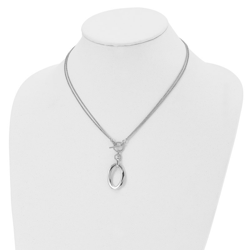 Leslie's Leslie's Sterling Silver Polished Fancy 2-Strand Toggle Necklace
