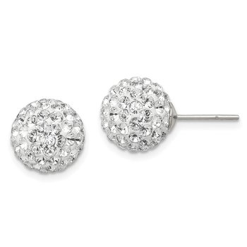 Sterling Silver 10mm Post White Stellux Crystal Ball Earrings