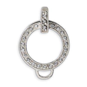 Sterling Silver Amore La Vita Rhodium-pl CZ Circle Charm Holder Pendant