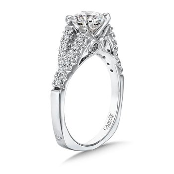 Modernistic Collection Split Shank Engagement Ring in 14K White Gold with Platinum Head (1ct. tw.)