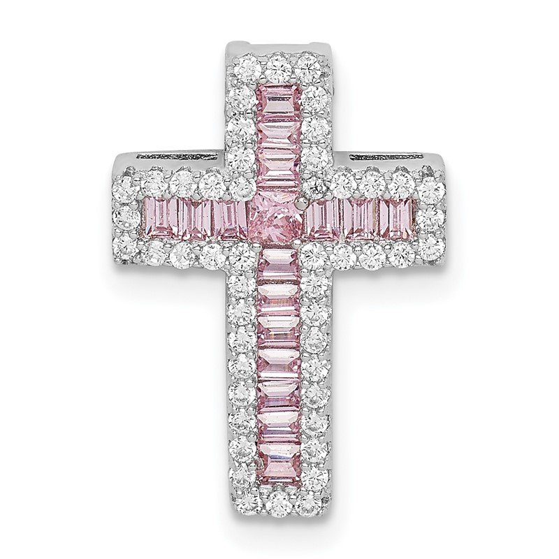 Quality Gold Sterling Silver Rhodium-plated Pink & White CZ Cross Chain Slide