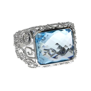 14k White Gold Octoganal Blue Topaz Ring