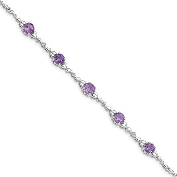 Sterling Silver Rhodium-plated Amethyst & Diamond Tennis Bracelet