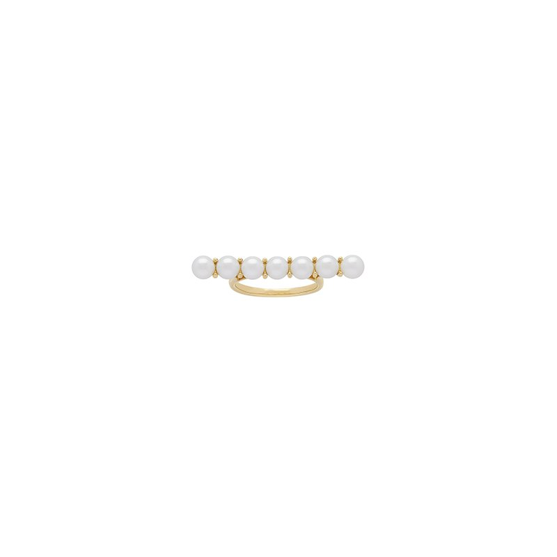 Honora Honora 14KY 4.5-5mm White Round Freshwater Cultured Pearls Bar Ring