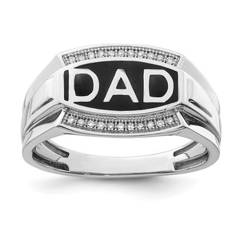Sterling Silver Rhodium Plated Diamond Men's DAD Ring