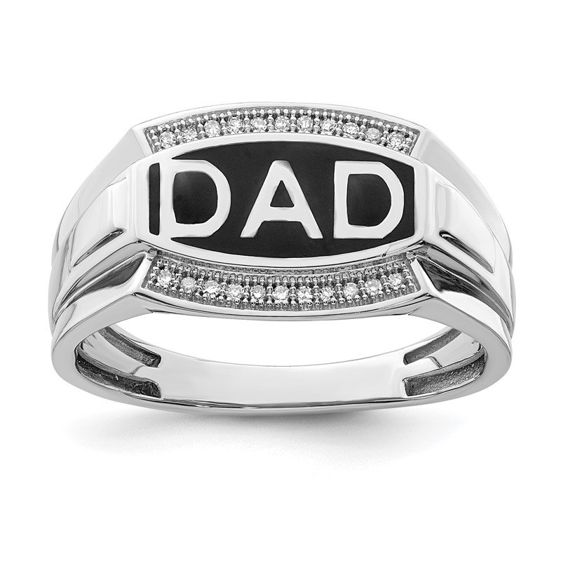 Arizona Diamond Center Collection Sterling Silver Rhodium Plated Diamond Men's DAD Ring