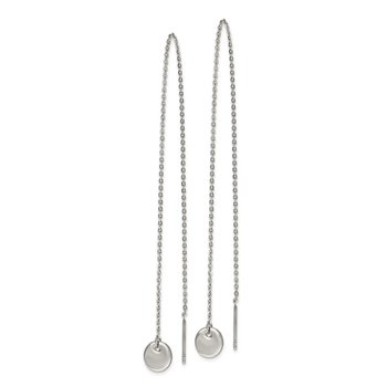 Stainless Steel Polished Disc Dangle Threader Earrings