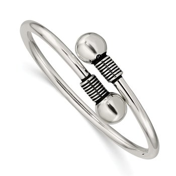 Sterling Silver Polished Slip-on Wrap Child's Bangle