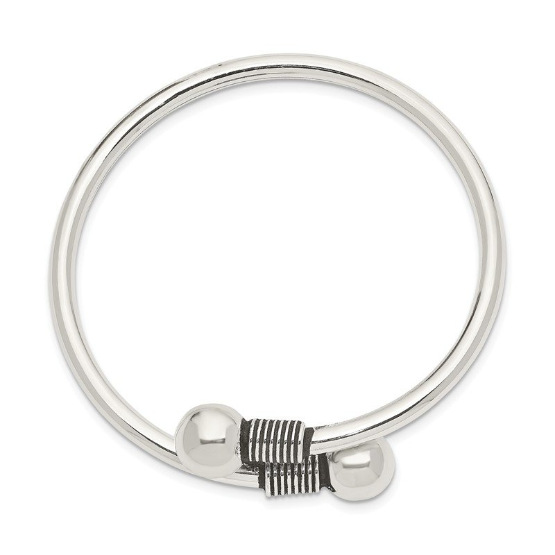 Quality Gold Sterling Silver Polished Slip-on Wrap Child's Bangle
