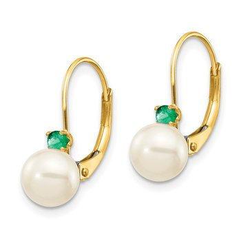 14k 6-6.5mm White Round FW Cultured Pearl Emerald Leverback Earrings