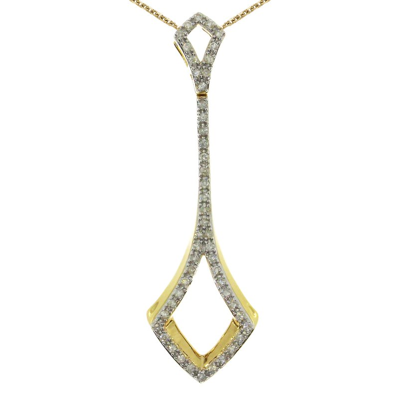 Color Merchants 14k Yellow Gold Fashion Diamond Drop Pendant