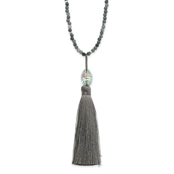 SS Green Glass/Hematite/Grey Quartz w/Nylon Tassel Drop Necklace