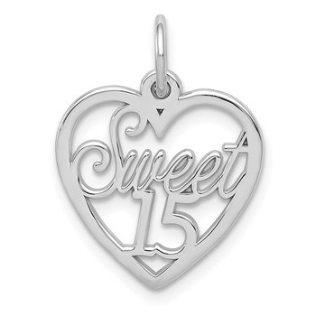 14k White Gold Sweet 15 Charm