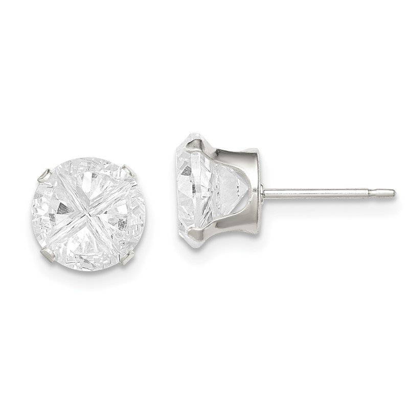 Quality Gold Sterling Silver 8mm Round Snap Set Cross-cut CZ Stud Earrings