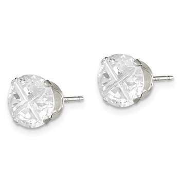 Sterling Silver 8mm Round Snap Set Cross-cut CZ Stud Earrings
