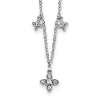 Sterling Silver Rhodium-plated CZ Crosses w/2in ext Necklace