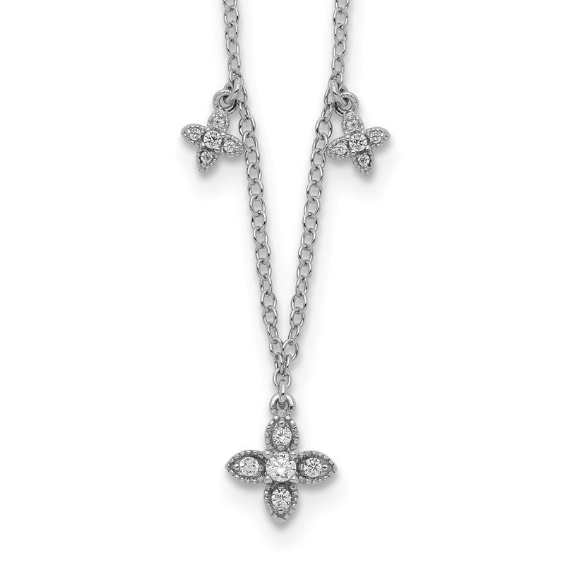 Quality Gold Sterling Silver Rhodium-plated CZ Crosses w/2in ext Necklace