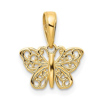 14k Polished Filigree Butterfly Charm