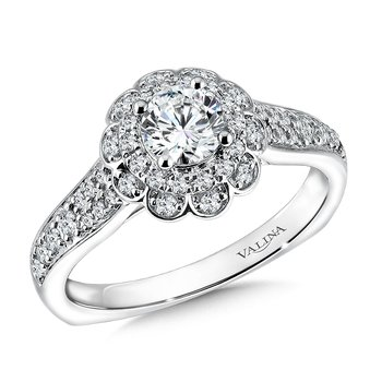 Floral shape halo .35 ct. tw., 1/2 ct. round center