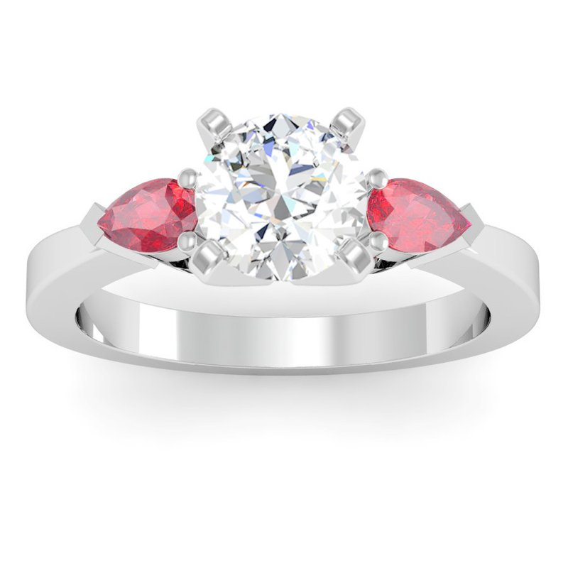 California Coast Designs Classic Pear Shaped Ruby Engagement Ring