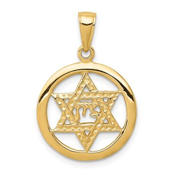 14K Jewish Chai In Star Of David Pendant