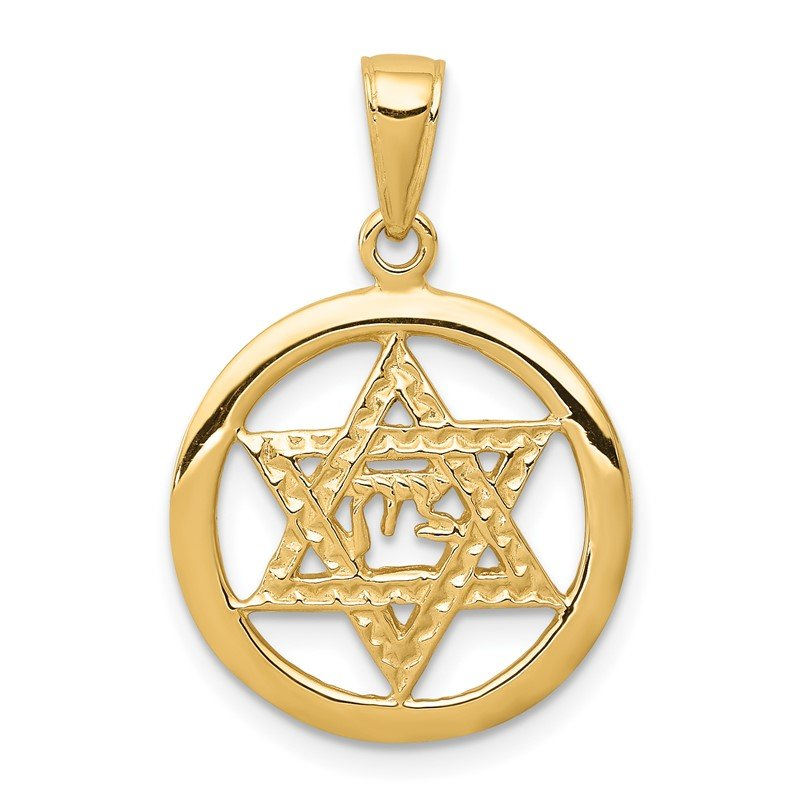 Quality Gold 14K Jewish Chai In Star Of David Pendant