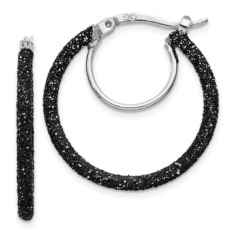 Quality Gold Sterling Silver Rhodium/Black Glitter Enamel 2x25mm Hoop Earrings