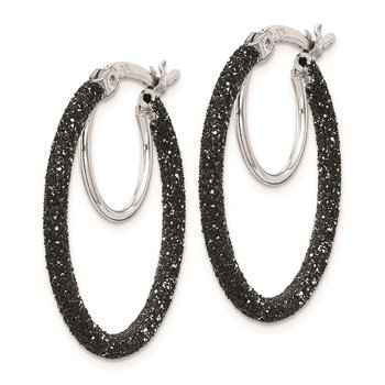 Sterling Silver Rhodium/Black Glitter Enamel 2x25mm Hoop Earrings