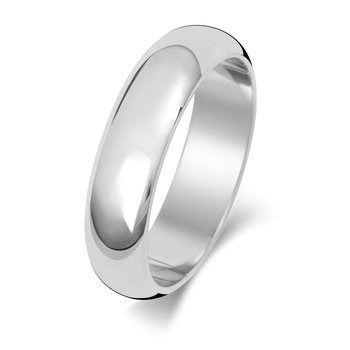 9Ct White Gold 5mm D Shape Wedding Ring