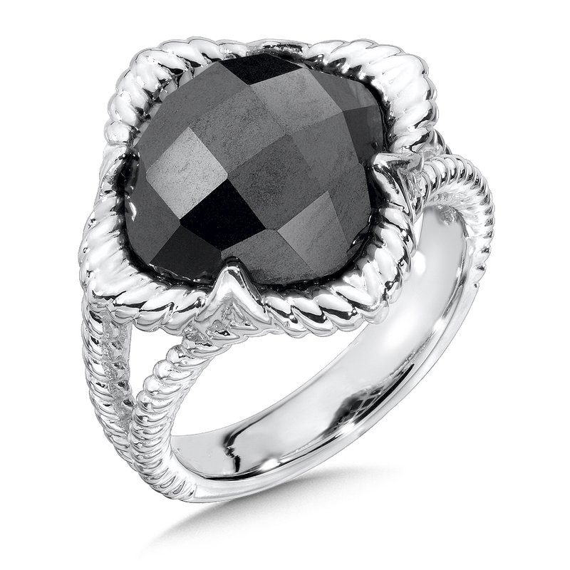 Colore Sg Sterling Silver Hematite Split Shank Ring