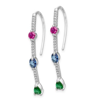 14k White Gold Diamond and Ruby/Sapphire/Emerald Earrings