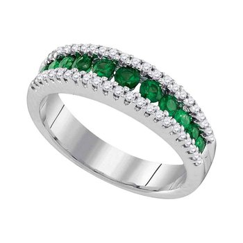 14kt White Gold Womens Round Emerald Diamond Triple Row Band Ring 7/8 Cttw