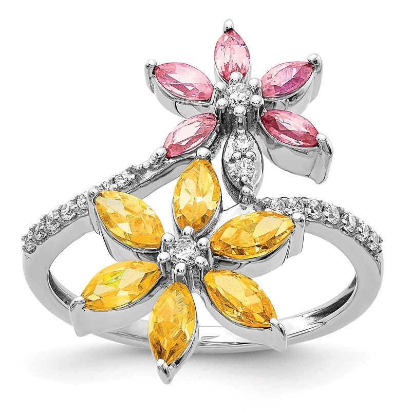 Quality Gold 14kWhite Gold Diamond and Citrine/Pink Tourmaline Flower Ring