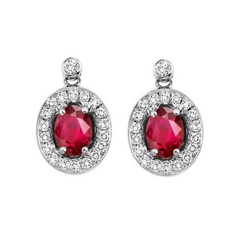 Gems One 14K White Gold Color Ensembles Halo Prong Ruby Earrings 1/4CT