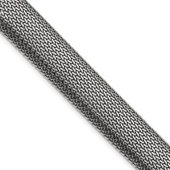 Sterling Silver Rhodium-plated Mesh Bracelet
