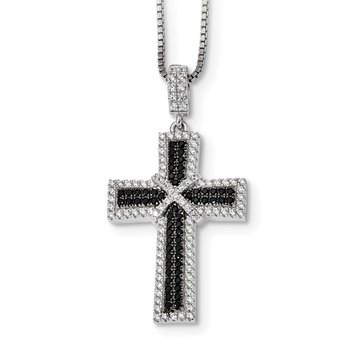 SS RH Black & White CZ Brilliant Embers Polished Cross Necklace