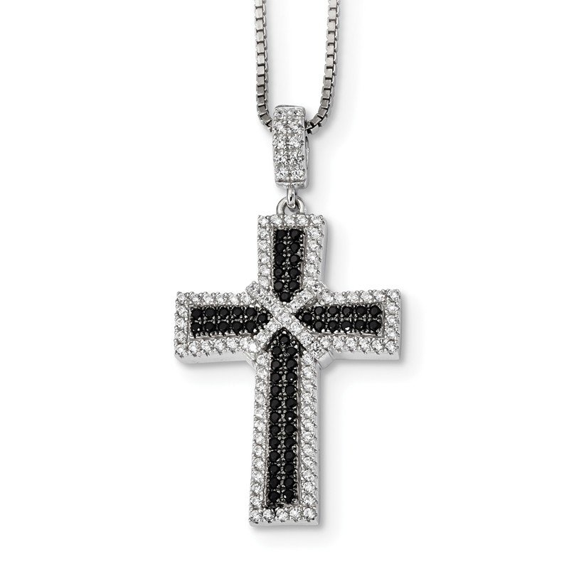 Quality Gold Sterling Silver Black & White CZ Brilliant Embers Polished Cross Necklace