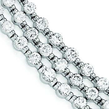 Sterling Silver Rhodium Plated CZ 3 Strand 8in Bracelet