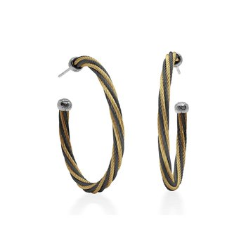 Black & Yellow Twisted Cable 1.5″ Hoop Earrings with 18kt White Gold