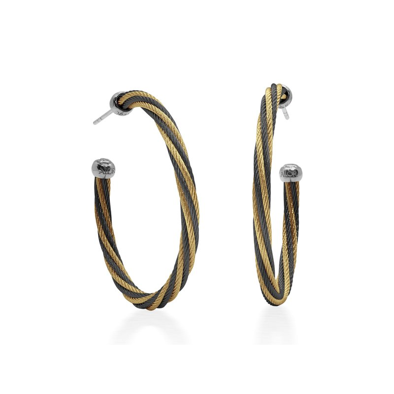 ALOR Black & Yellow Twisted Cable 1.5″ Hoop Earrings with 18kt White Gold